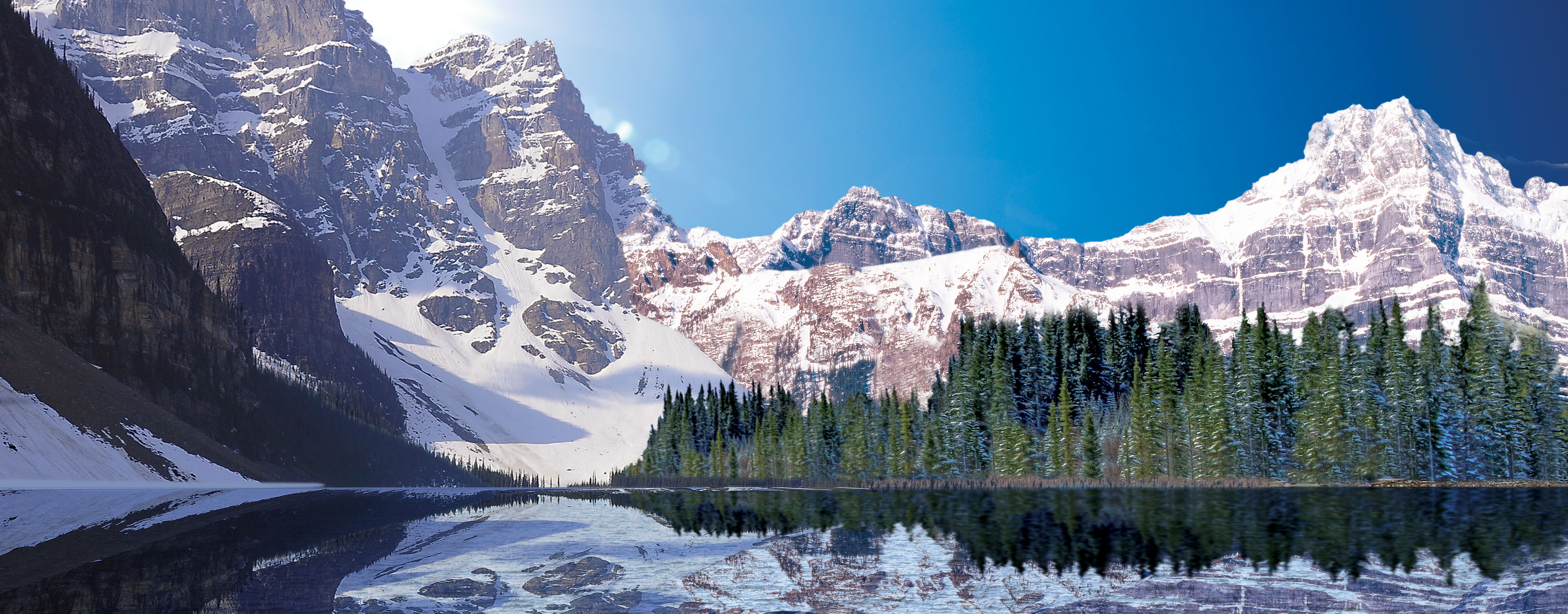 lake with snowy mountains