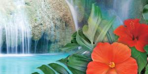 rainforest scene with waterfall and flowers